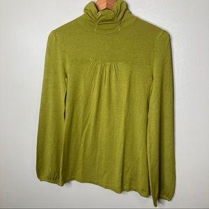 JOSEPH A Green Stretchy Turtleneck Sweater